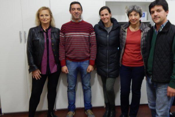 Carlos Brangeri y Juan Pablo Filoni junto a las investigadoras