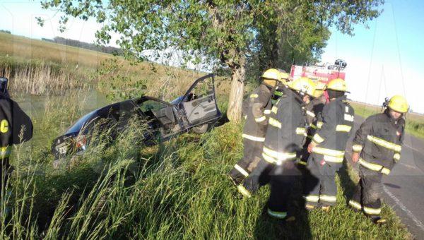 El automovil impacto contra una planta y a metros de caer a una zanja con agua
