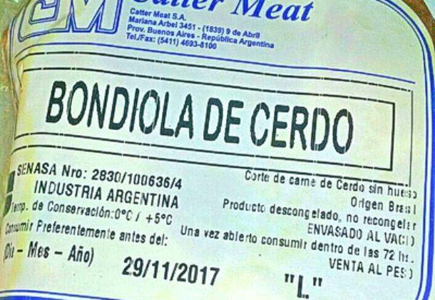 Etiqueta de un corte de cerdo importado