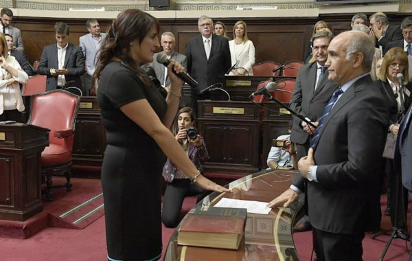 Maria Elena Defunchio al momento de jurar como Senadora en la provincia de Buenos Aires