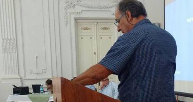 Aldo Esteban al momento de usar la palabra en la Audiencia Publica
