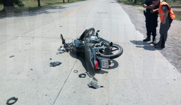 Motocicleta en la que movilizaba el joven en Acc Peron