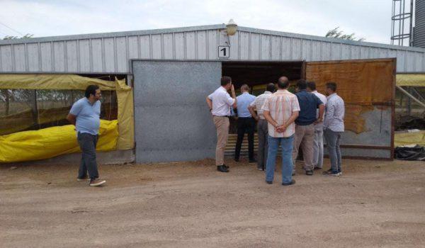 Profesionales, funcionarios e integrantes de la empresa recorriendo uno de los establecimientos productivos