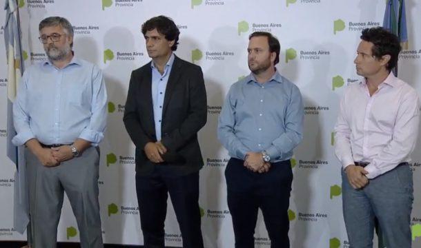 Ayer viernes funcionarios de Educacion, Economia, Asuntos Publicos y Trabajo bonaerense en conferencia de prensa en La Plata