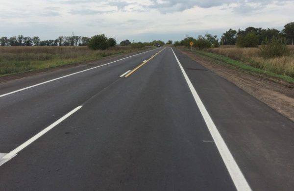 Tramo de ruta 65 antes de la curva al acceso a El Provincial