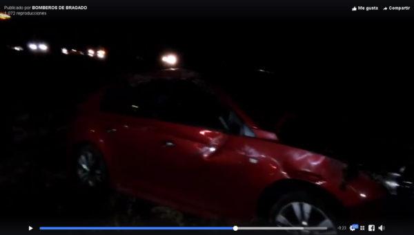 Imagen del vehículo siniestrado- captura de video Bomberos Bragado