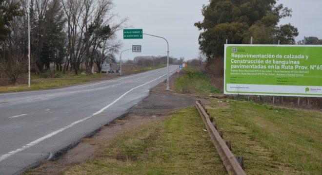 Ruta provincial 65 en el tramo 9 de Julio -Santos Unzue
