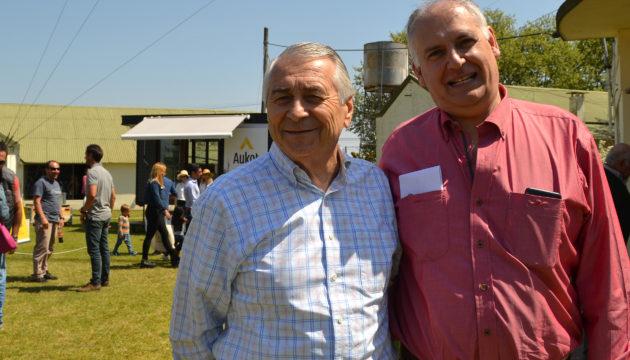 Durante la exposición rural de  9 de Julio, Jorge Medica junto al presidente de Cámara de Comercio, Dario Santini