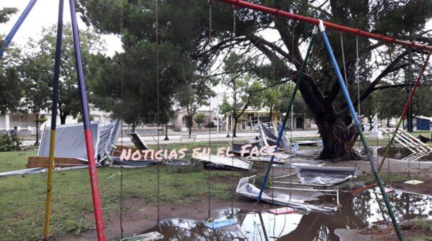 daños en la plaza principal