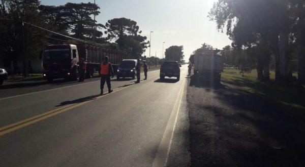 Trabajo del CPR 9 de Julio sobre ruta 5 en conjunto con el Destacamento Vial 9 de Julio