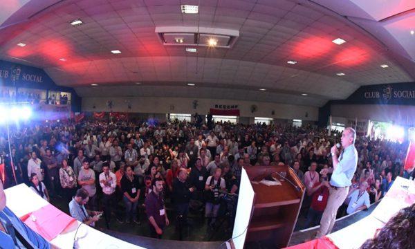 Daniel Salvador durante su mensaje a la Convención