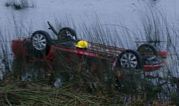 Automovil que se despisto y fallece su conductor – foto Diario Democracia