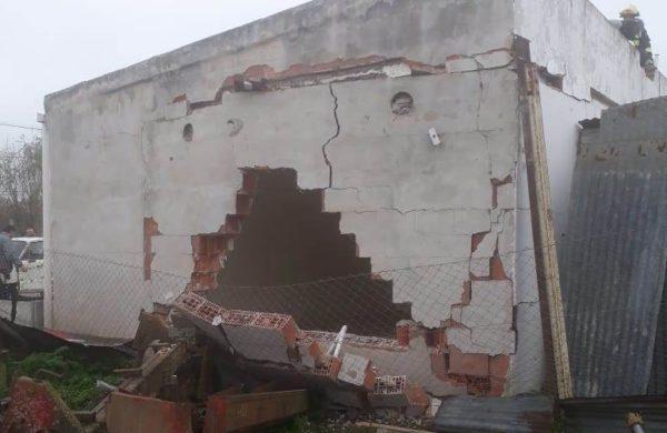 La pared luego de la explosion producida