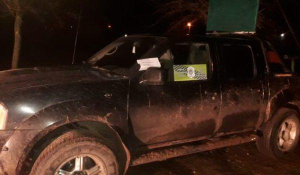 Vehiculo secuestrado a los cazadores en Dudignac
