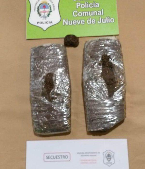 los dos ladrillos de marihuana compactada que secuestro Policia de 9 de Julio