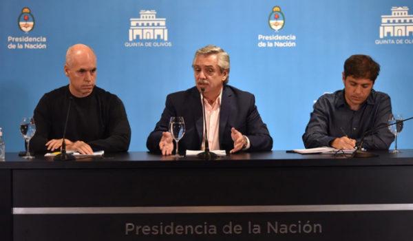 El presidente Fernandez junto a Larreta y Kicillof