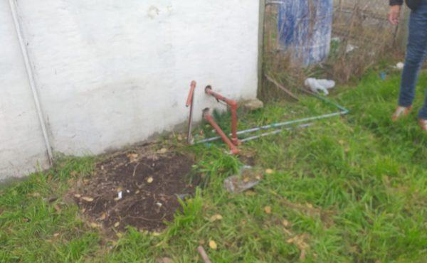 Lugar donde estaba el tanque de agua que le fue robado a Liberad