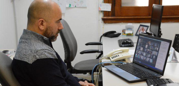 Victor Altare, durante la reunion online con autoridades provinciales