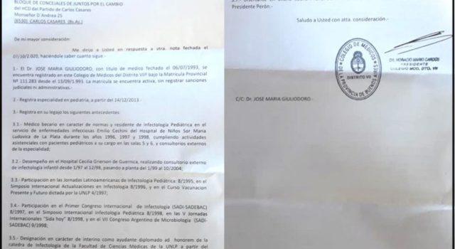 Resolución del Colegio de Medicos de Buenos Aires