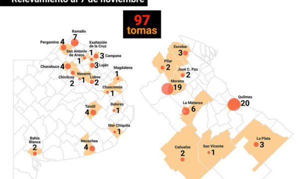 mapa de toma de tierras – infobae
