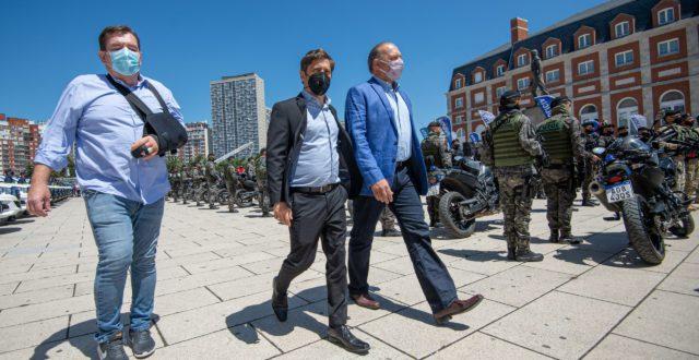 Kicillof en Mar del Plata junto al Intendente Montenegro y el Ministro de Seguridad