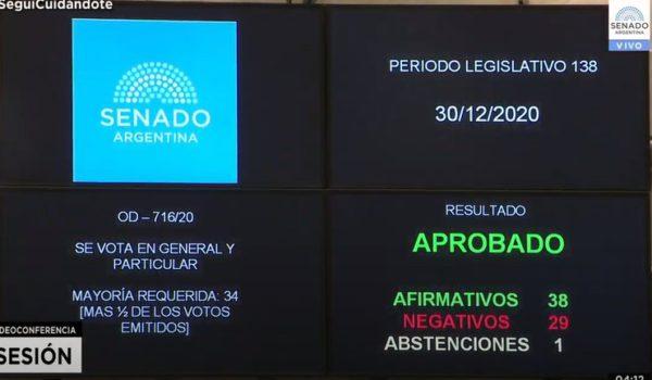 Votacion en el senado a favor del aborto en Argentina