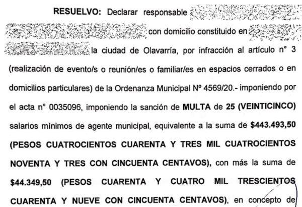 Copia de la multa impuesta en Olavarria