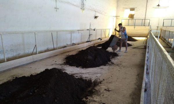 Trabajo que se realiza en la reconstrucción de la cancha de tierra
