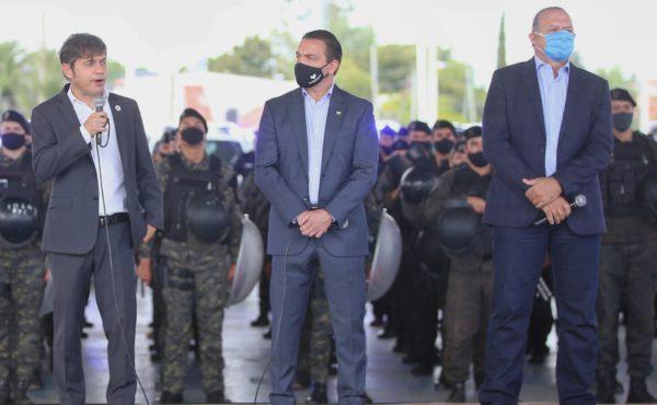 Gobernador Axel Kicillof junto a su ministro de Seguridad